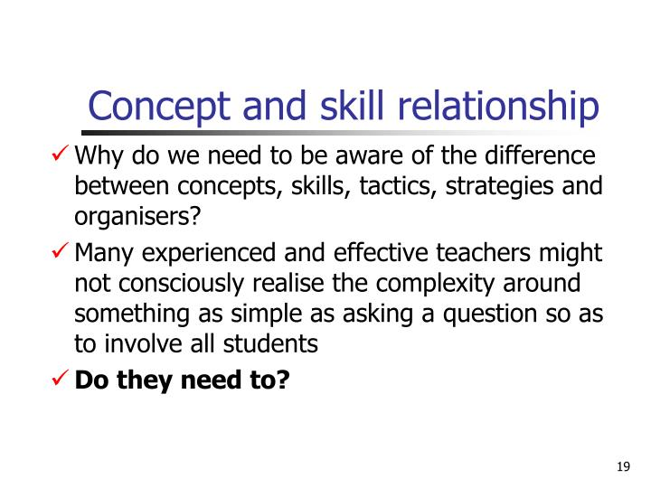 Concept and skill relationship