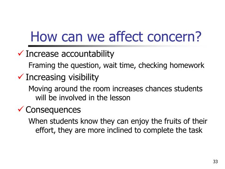 How can we affect concern?