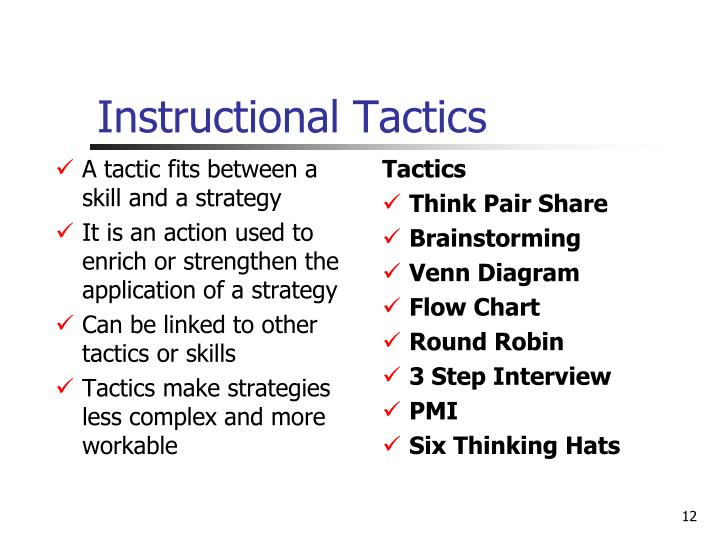 A tactic fits between a skill and a strategy
