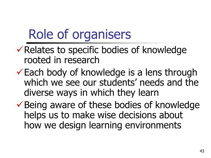 Role of organisers