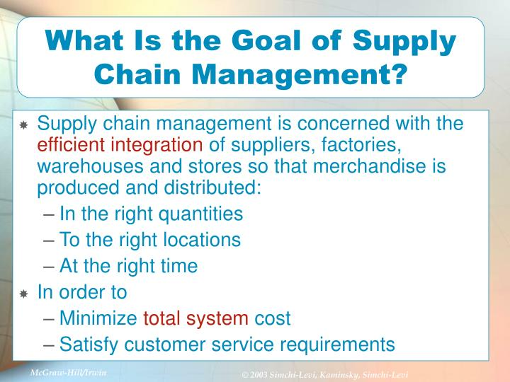 What Is the Goal of Supply Chain Management?