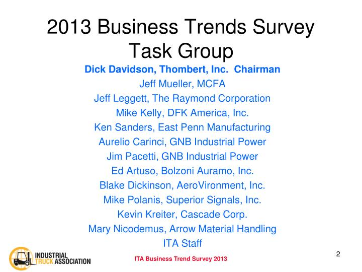 2013 Business Trends Survey Task Group