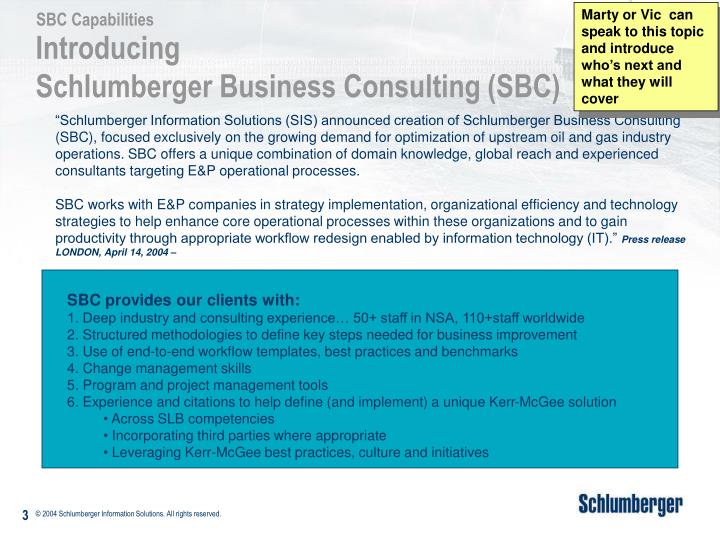 Introducing schlumberger business consulting sbc