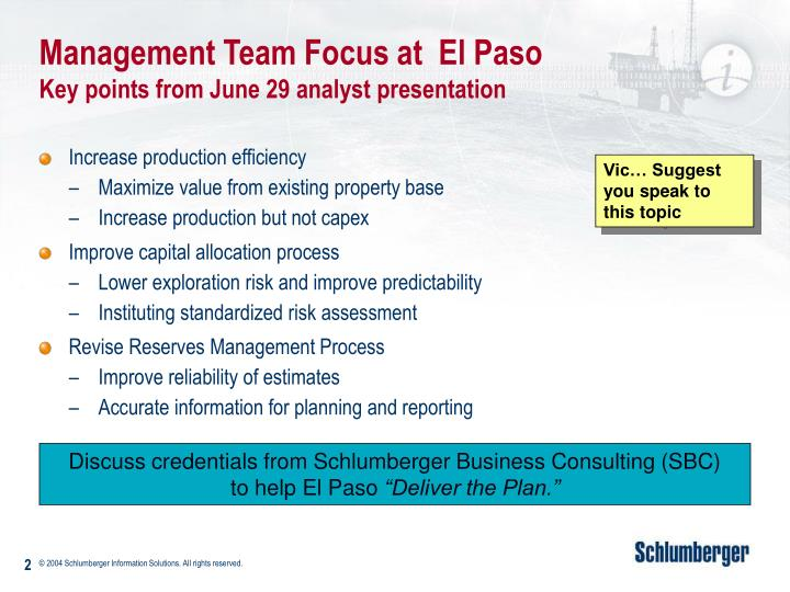 Management team focus at el paso key points from june 29 analyst presentation