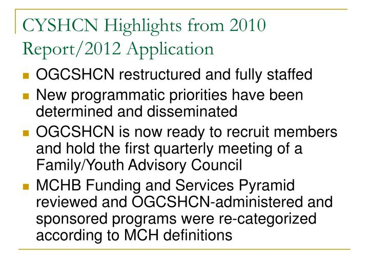 CYSHCN Highlights from 2010 Report/2012 Application