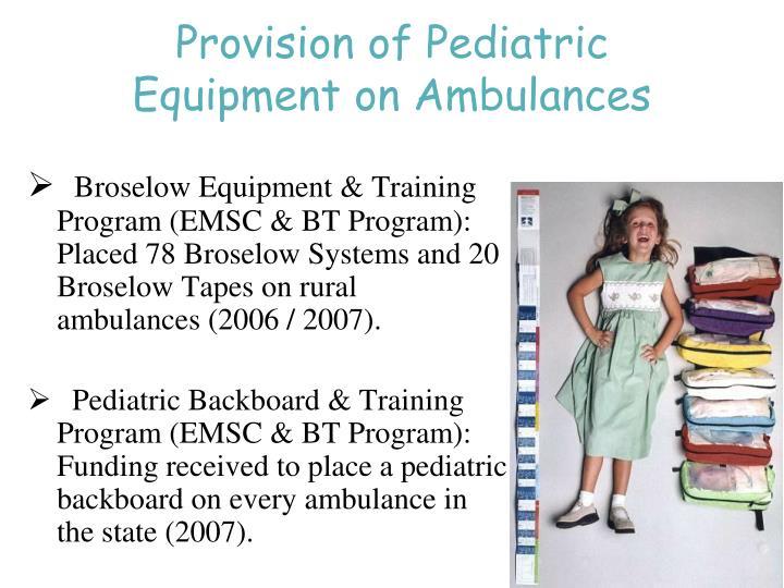 Provision of Pediatric Equipment on Ambulances