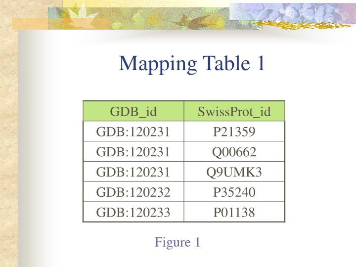 Mapping Table 1
