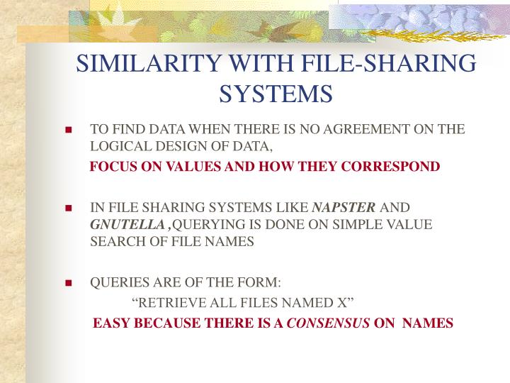 SIMILARITY WITH FILE-SHARING SYSTEMS