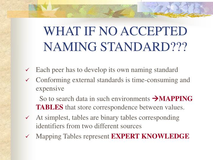 WHAT IF NO ACCEPTED NAMING STANDARD???