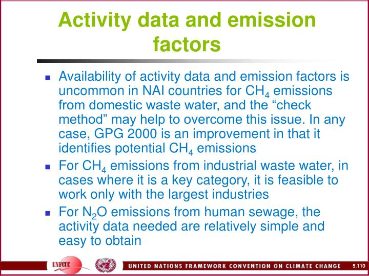 Activity data and emission factors
