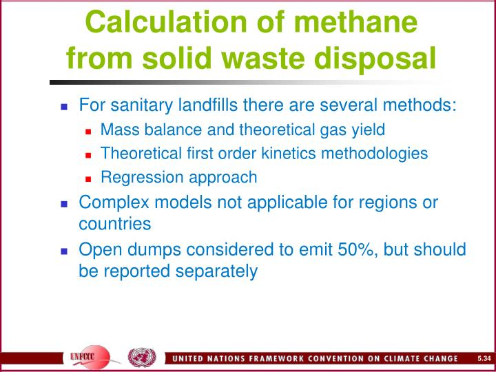 Calculation of methane from solid waste disposal