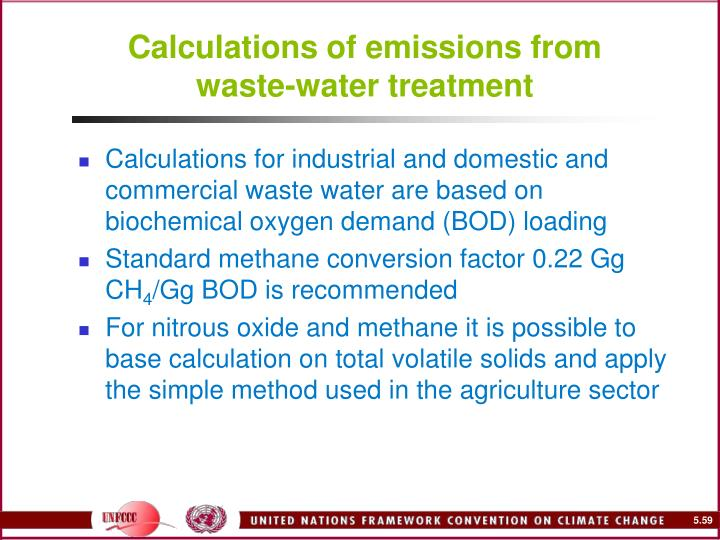 Calculations of emissions from