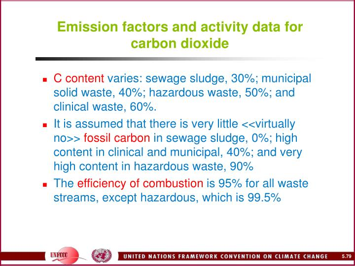 Emission factors and activity data for carbon dioxide