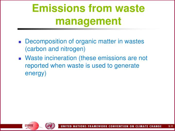 Emissions from waste management