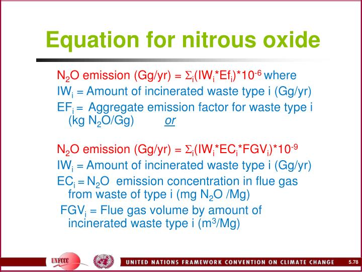 Equation for nitrous oxide