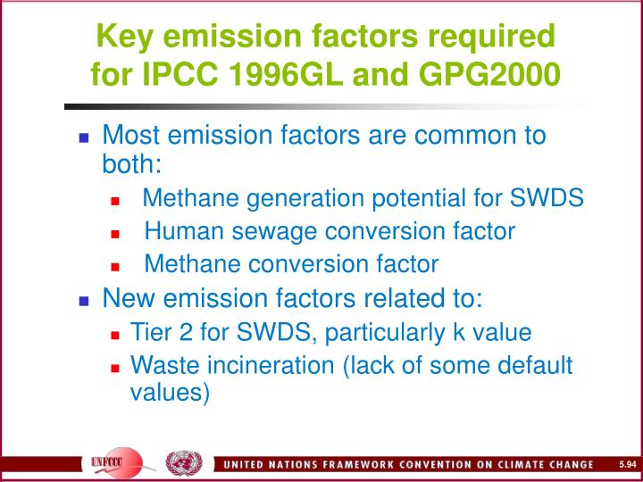 Key emission factors required for IPCC 1996GL and GPG2000