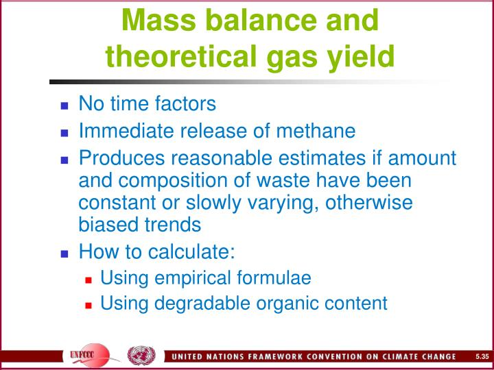 Mass balance and theoretical gas yield