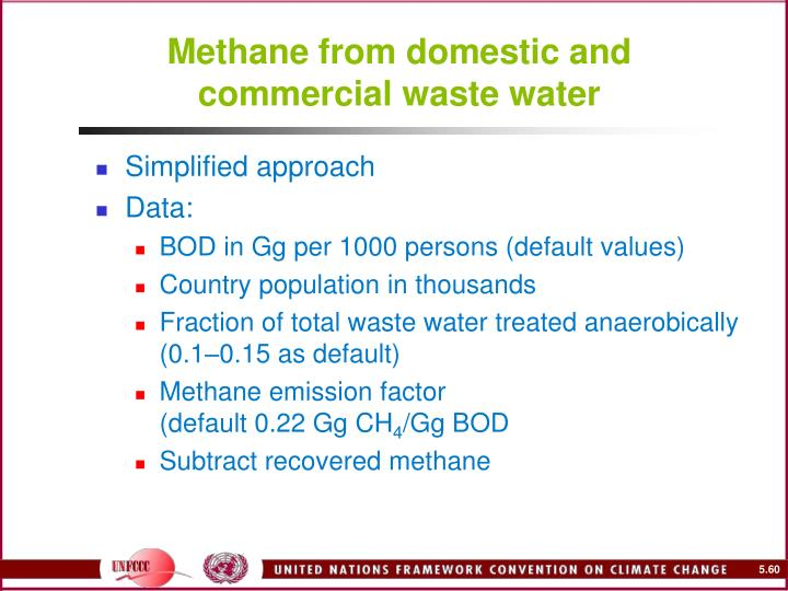 Methane from domestic and commercial waste water