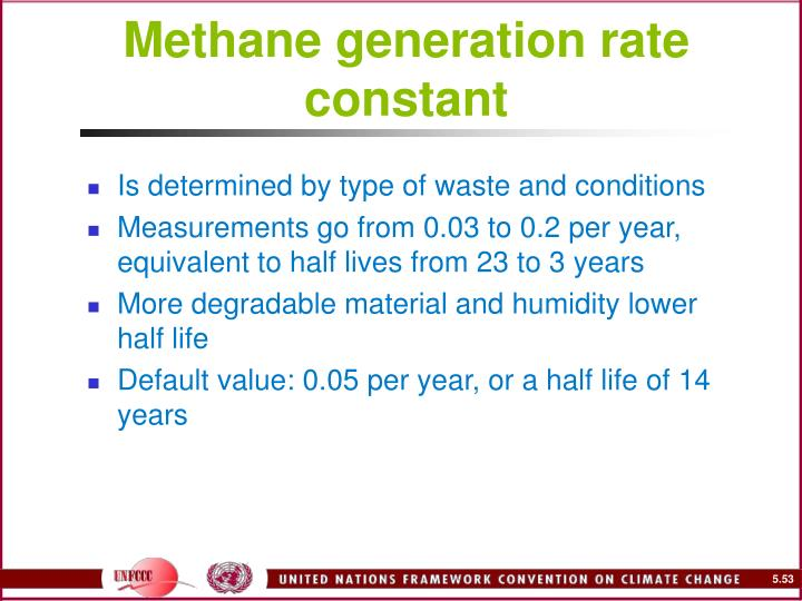 Methane generation rate constant
