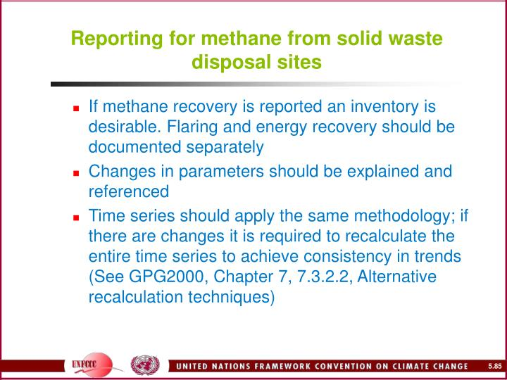 Reporting for methane from solid waste disposal sites