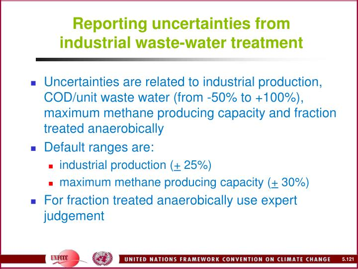 Reporting uncertainties from industrial waste-water treatment