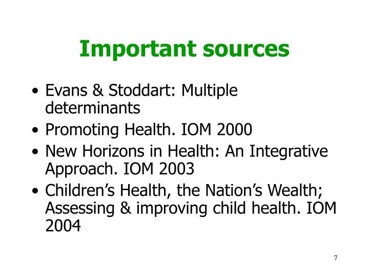 Important sources