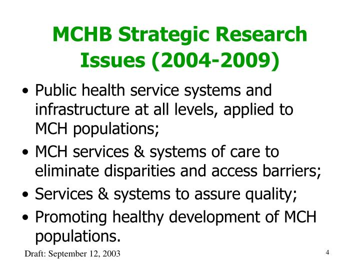 MCHB Strategic Research Issues (2004-2009)