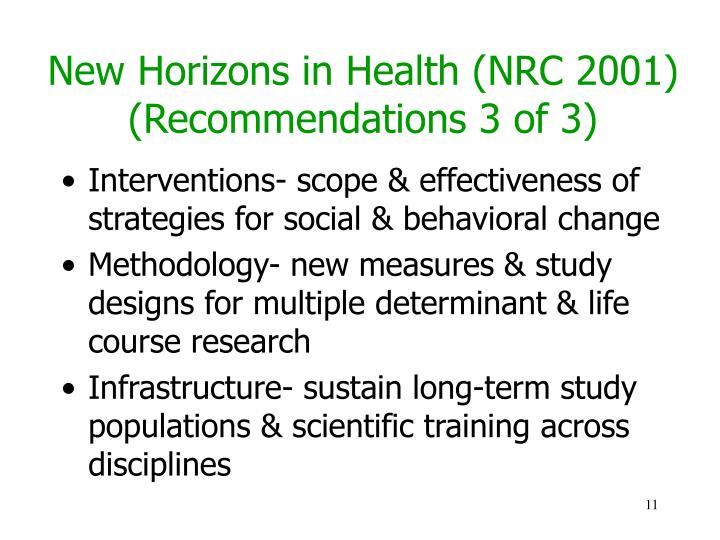 New Horizons in Health (NRC 2001) (Recommendations 3 of 3)