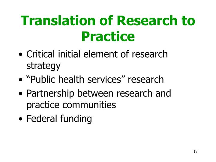 Translation of Research to Practice