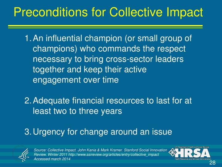 Preconditions for Collective Impact