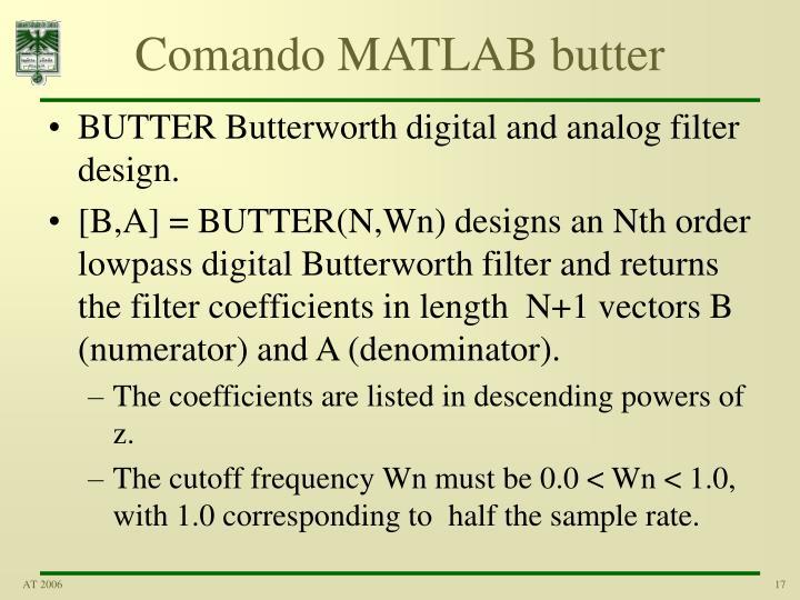 Comando MATLAB butter