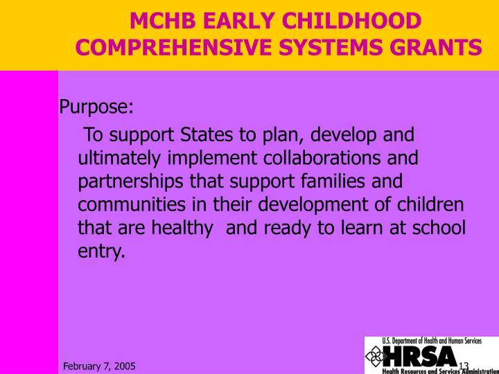 MCHB EARLY CHILDHOOD