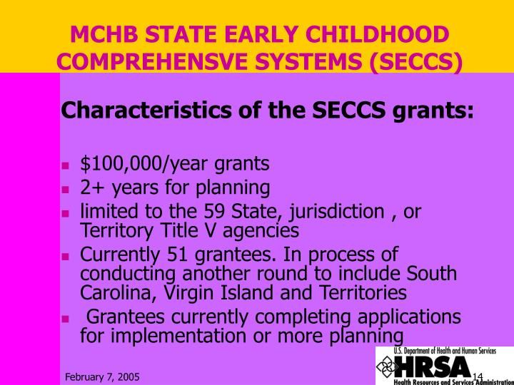 MCHB STATE EARLY CHILDHOOD COMPREHENSVE SYSTEMS (SECCS)