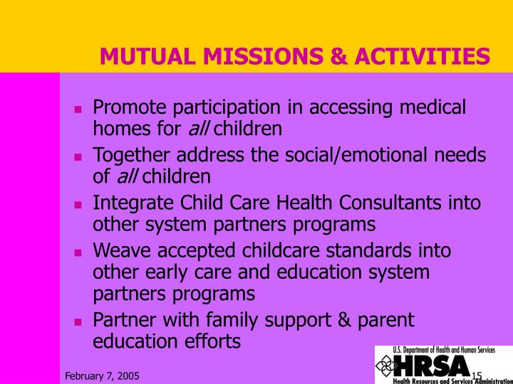 MUTUAL MISSIONS & ACTIVITIES