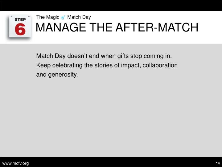Manage the After-Match