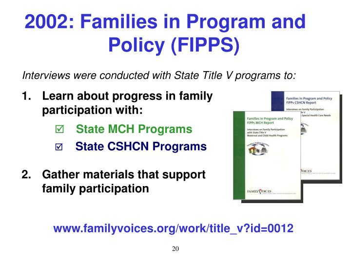 2002: Families in Program and Policy (FIPPS)