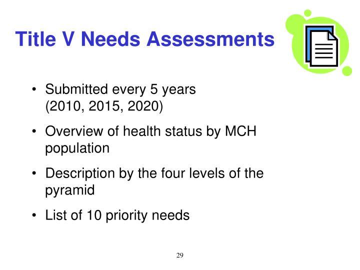 Title V Needs Assessments