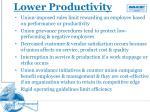 lower productivity