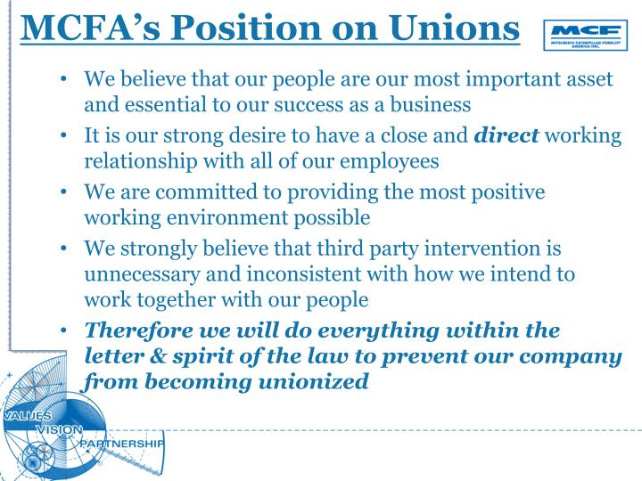 MCFA's Position on Unions