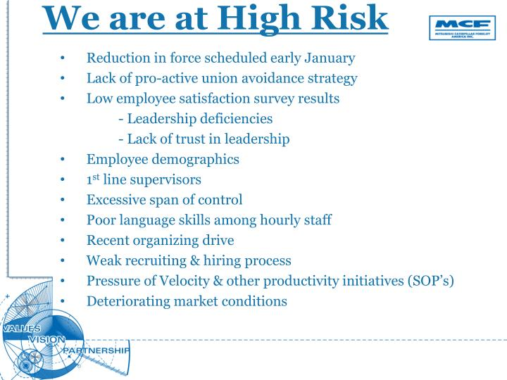 We are at High Risk