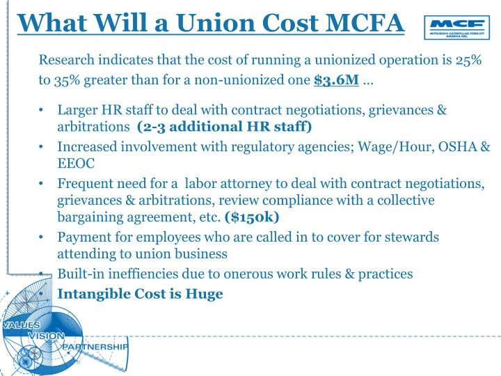 What will a union cost mcfa