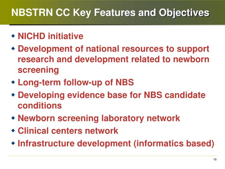 NBSTRN CC Key Features and Objectives