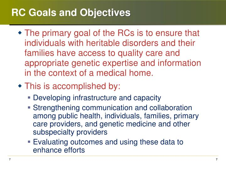 RC Goals and Objectives
