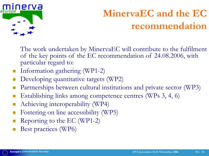 The work undertaken by MinervaEC will contribute to the fulfilment of the key points of the EC recommendation of 24.08.2006, with particular regard to: