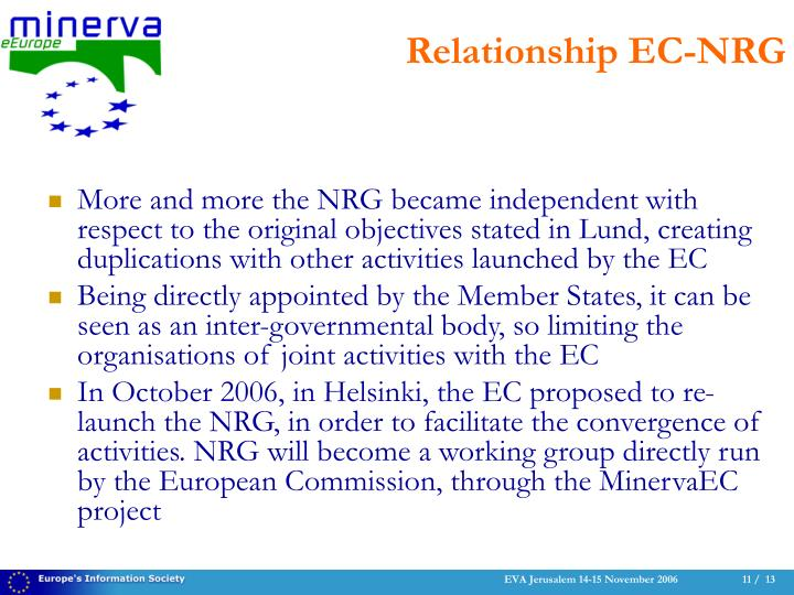 More and more the NRG became independent with respect to the original objectives stated in Lund, creating duplications with other activities launched by the EC