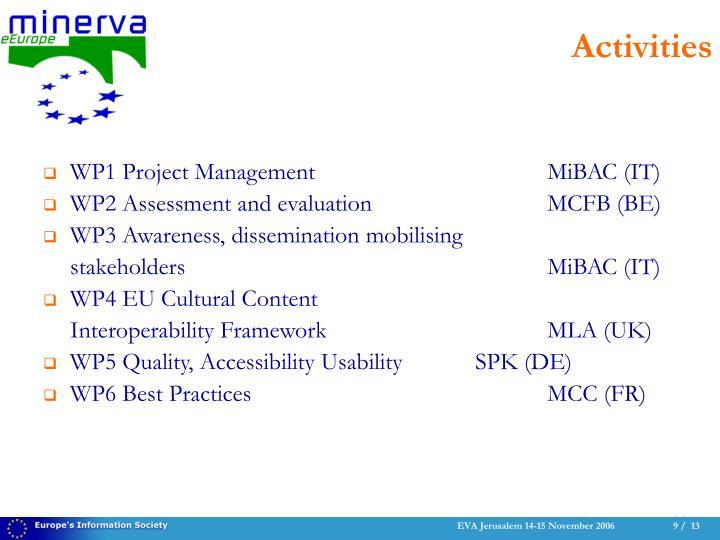 WP1 Project ManagementMiBAC (IT)