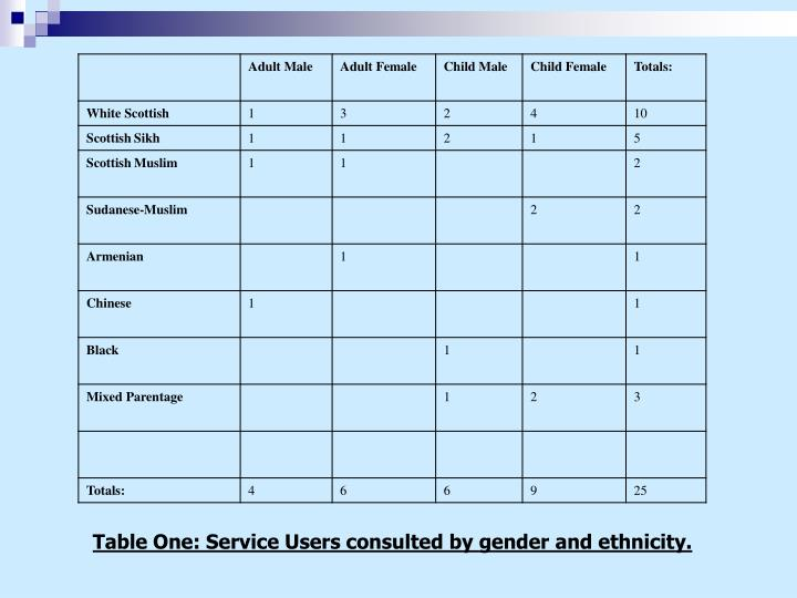 Table One: Service Users consulted by gender and ethnicity.