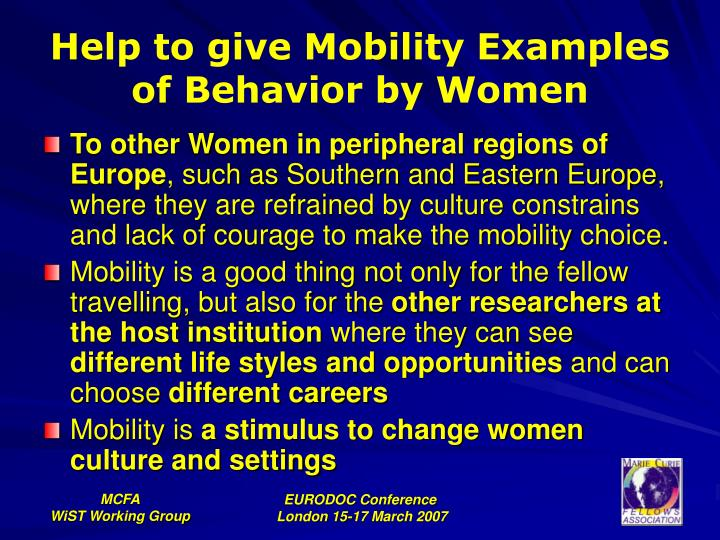Help to give Mobility Examples of Behavior by Women