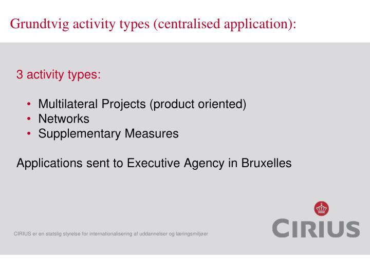 Grundtvig activity types (centralised application):