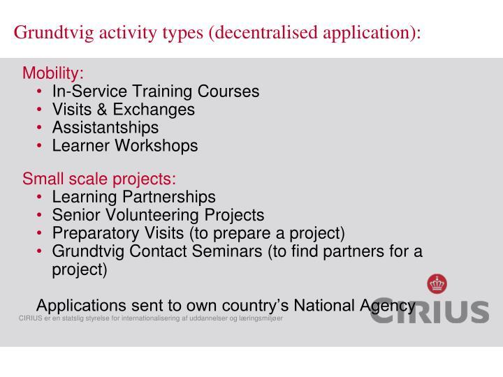 Grundtvig activity types (decentralised application):